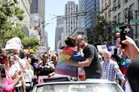 <p>The pair shared a kiss at the San Francisco Pride parade in June 2019. </p>
