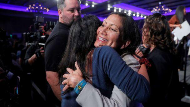 PHOTO: Democratic Congressional candidate Deb Haaland hugs a supporter after winning her midterm election in Albuquerque, New Mexico, Nov. 6, 2018. (Brian Snyder/Reuters)