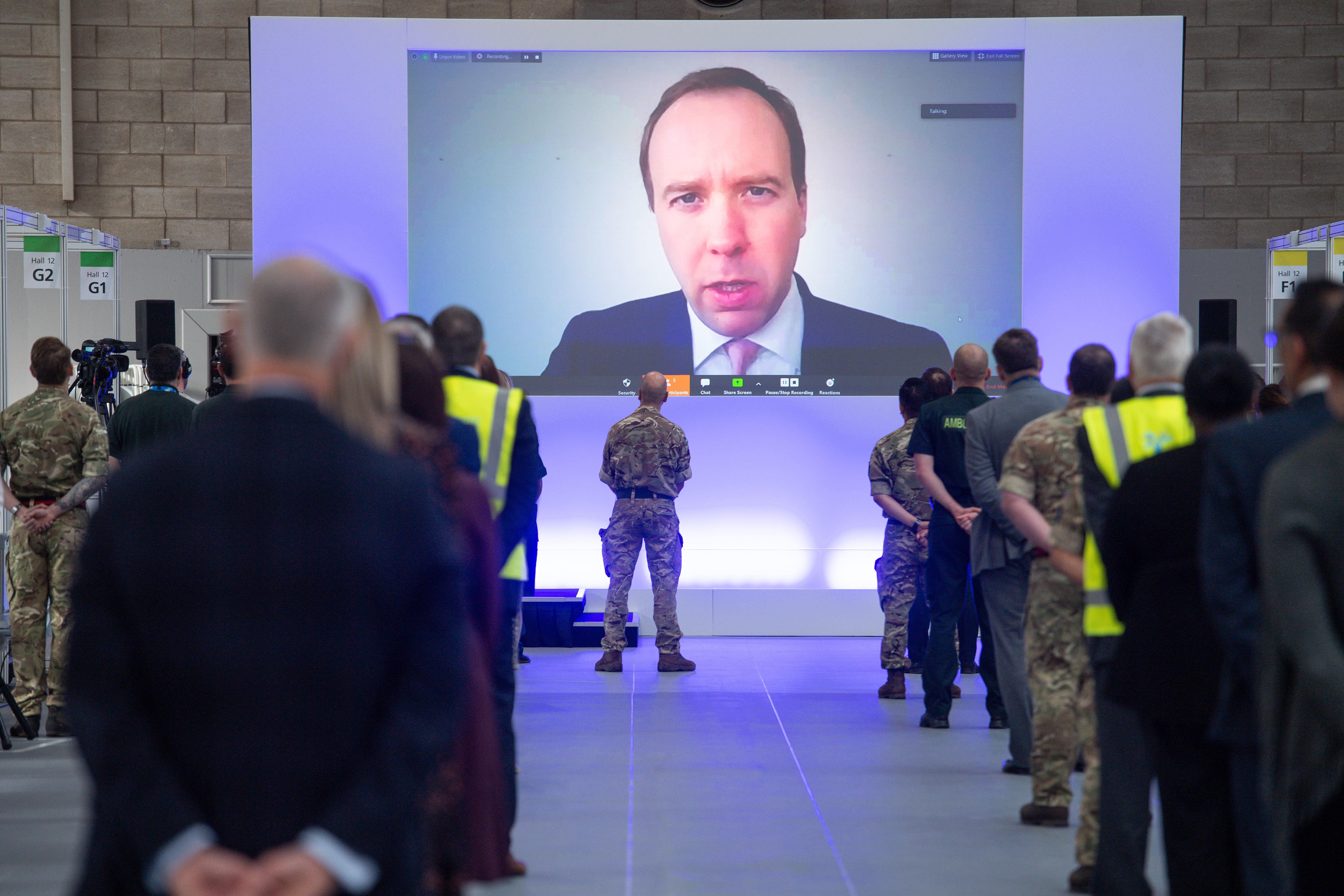 EMBARGOED TO 1330 Thursday April 16, 2020. Health Secretary Matt Hancock speaks via videolink at the opening of the NHS Nightingale Hospital Birmingham, in the National Exhibition Centre (NEC).