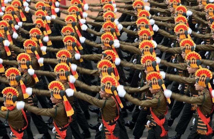 Indian Army soldiers march in formation down Rajpath during the full Republic Day Dress rehearsal in New Delhi on January 23, 2015 (AFP Photo/Prakash Singh)