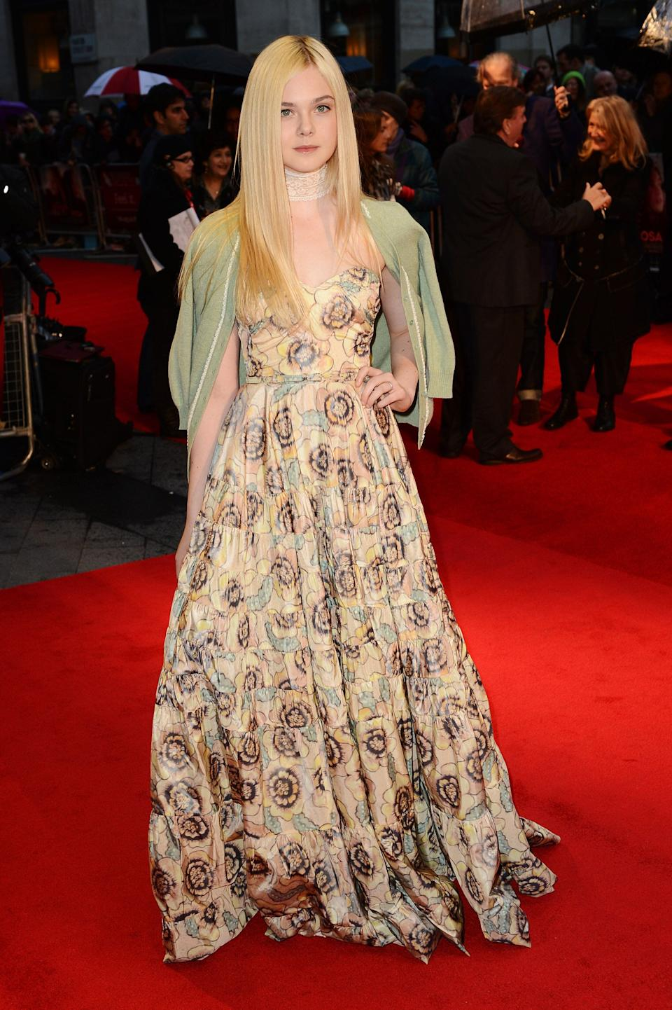 "Fanning at the premiere of ""Ginger & Rosa"" during the 56th BFI London Film Festival at Odeon West End in London."
