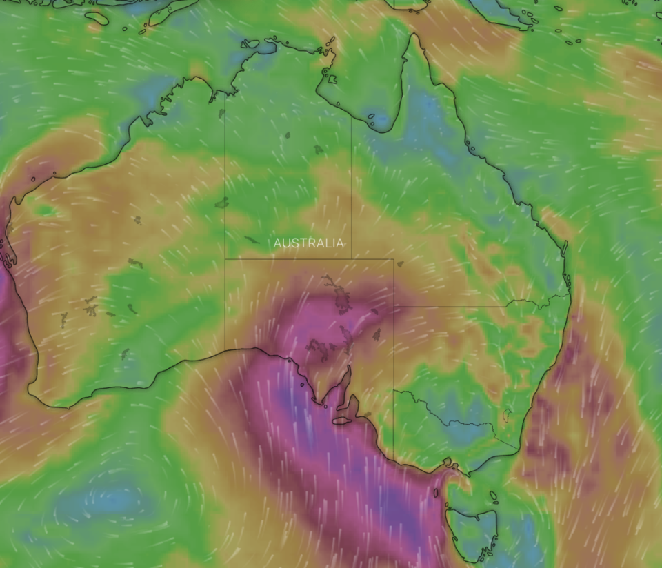 A satellite map showing the intense winds.