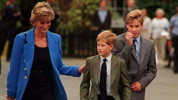 PHOTO: Prince William arrives with Diana, Princess of Wales and Prince Harry for his first day at Eton College on September 16, 1995 in Windsor, England. (Anwar Hussein/Getty Images)