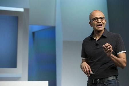 Nadella, Microsoft Corp chief executive, attends the unveil event of the new Microsoft Surface Pro 3 in New York