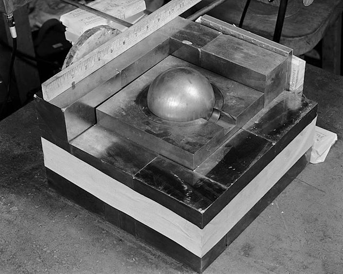 """<span class=""""caption"""">Plutonium pits are one of the only pieces of a nuclear warhead that can't be replaced.</span> <span class=""""attribution""""><a class=""""link rapid-noclick-resp"""" href=""""https://commons.wikimedia.org/wiki/File:Partially-reflected-plutonium-sphere.jpeg"""" rel=""""nofollow noopener"""" target=""""_blank"""" data-ylk=""""slk:Los Alamos National Security LLC"""">Los Alamos National Security LLC</a>, <a class=""""link rapid-noclick-resp"""" href=""""http://creativecommons.org/licenses/by-nd/4.0/"""" rel=""""nofollow noopener"""" target=""""_blank"""" data-ylk=""""slk:CC BY-ND"""">CC BY-ND</a></span>"""