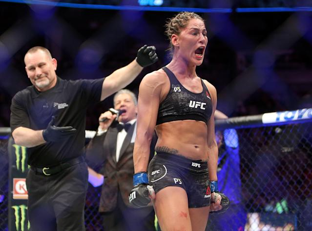 Jessica Eye celebrates her victory against Katlyn Chookagian of the U.S. in a flyweight bout during UFC 231 at Scotiabank Arena on Dec. 8, 2018 in Toronto, Canada. (Getty Images)