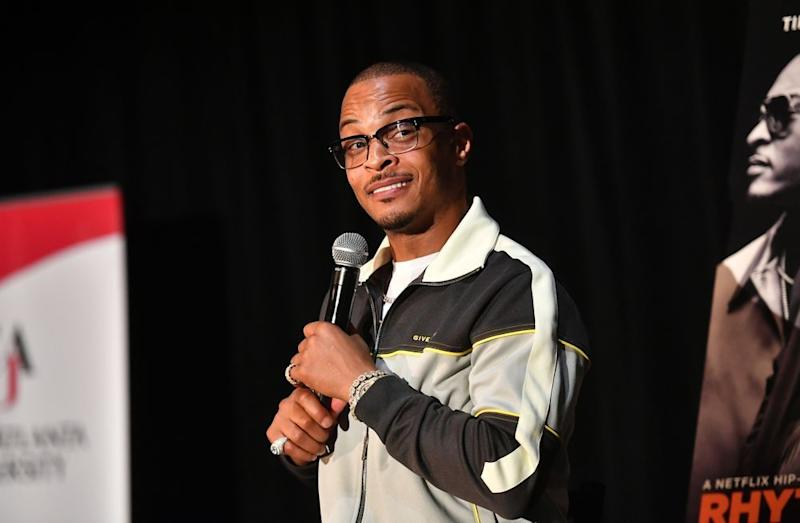 Rapper T.I. speaking at an event