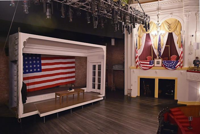 The box where Abraham Lincoln was shot is on display at Ford's Theatre in Washington, D.C. Lincoln was seated in the armchair at the right of the box when he was shot by John Wilkes Booth.