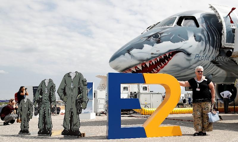 An Embraer E190-E2 aircraft displayed at the Farnborough Airshow, south west of London, in July 2018: a judge has once again blocked a deal between the Brazilian planemaker and US giant Boeing to create a joint venture
