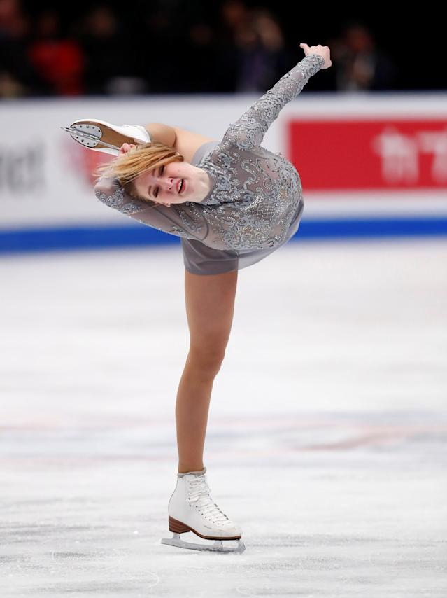 Figure Skating - World Figure Skating Championships - The Mediolanum Forum, Milan, Italy - March 23, 2018 Russia's Maria Sotskova during the Ladies Free Skating REUTERS/Alessandro Garofalo