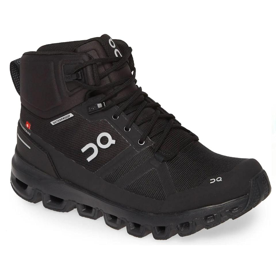 """Equipped with enough cushioning for a full day of trekking, On says its Cloudrock waterproof hiking boots are <a href=""""https://cna.st/affiliate-link/dFXfBmxeUoMhFmiLTN8bpqZwB68RXEwQsYCYXtbbxWnkdew2nMTVA99cu1s8xMN4GLbM85F4zpHVzK6as9NSUr4TE98Y1VUegUuzHzioYYTqvJwNFcge5q13K8RB?cid=606dfe8fa5edad39282d577b"""" rel=""""nofollow noopener"""" target=""""_blank"""" data-ylk=""""slk:up to 35% lighter"""" class=""""link rapid-noclick-resp"""">up to 35% lighter</a> than similar styles on the market (!!) meaning walking is easy, breezy for hours on end. Speaking of breezy, if your feet tend to get clammy after a while, these shoes are super breathable thanks to the mesh upper. $230, Nordstrom. <a href=""""https://www.nordstrom.com/s/on-cloudrock-waterproof-hiking-boot-women/5228819"""" rel=""""nofollow noopener"""" target=""""_blank"""" data-ylk=""""slk:Get it now!"""" class=""""link rapid-noclick-resp"""">Get it now!</a>"""