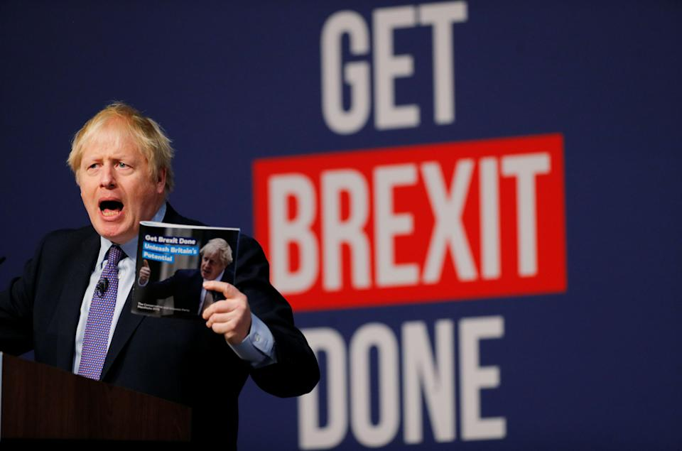 Britain's Prime Minister Boris Johnson speaks at the Conservative party's manifesto launch in Telford, Britain November 24, 2019. REUTERS/Phil Noble