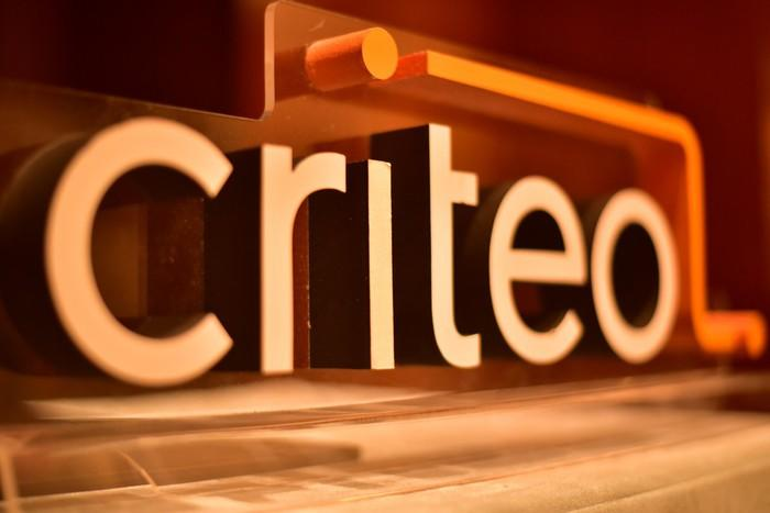 Orange colored 3-D image of Criteo's text logo.