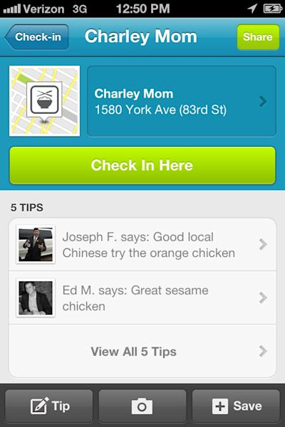 """This screen shot shows the Foursquare mobile site. Foursquare is a social network that lets you tell friends and family where you are. Through the smartphone app, you broadcast your whereabouts, or """"check in"""" to those places. (AP Photo/Foursquare)"""