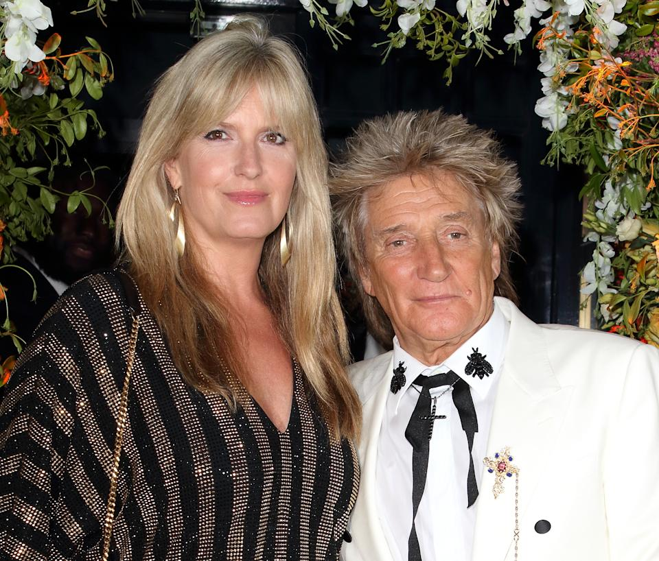Sir Rod Stewart and Penny Lancaster seen during the Tramp Nightclub 50th Anniversary Party, Jermyn Street. (Photo by Keith Mayhew / SOPA Images/Sipa USA)