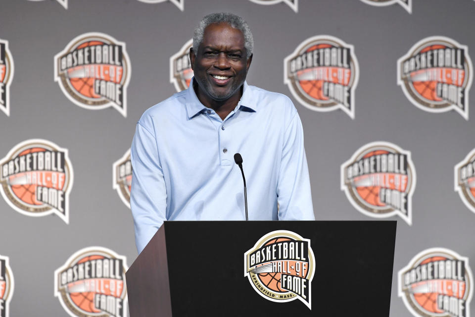 Basketball Hall of Fame Class of 2021 inductee Bob Dandridge speaks at a news conference at Mohegan Sun, Friday, Sept. 10, 2021, in Uncasville, Conn. (AP Photo/Jessica Hill)