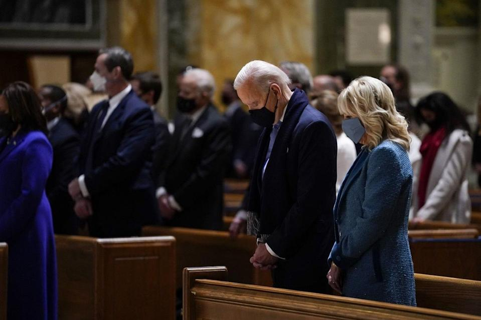 President-elect Joe Biden and his wife Jill Biden attend Mass at the Cathedral of St. Matthew the Apostle during Inauguration Day ceremonieS.