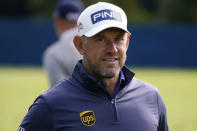 FILE - This Tuesday, Sept. 15, 2020 file photo, shows Lee Westwood of England before the U.S. Open Championship golf tournament, at the Winged Foot Golf Club in Mamaroneck, N.Y. Lee Westwood was voted as the European Tours golfer of the year for 2020 on Monday Dec. 21, 2020, winning the award for the fourth time in his career after ending the season as the Race to Dubai champion at the age of 47. (AP Photo/Charles Krupa, File)