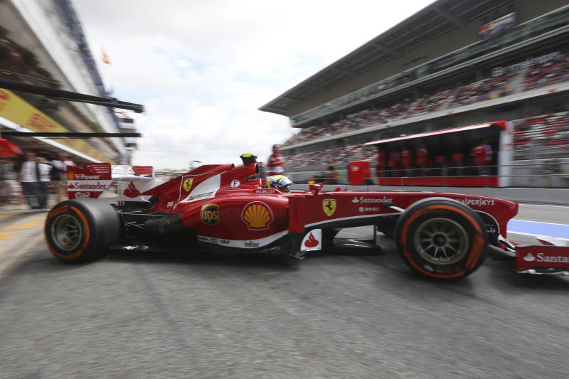 Ferrari driver Felipe Massa of Brazil steers his car during the third free practice session at the Catalunya racetrack in Montmelo, near Barcelona, Spain, Saturday, May 11, 2013. The Formula One race will be held on Sunday. (AP Photo/Luca Bruno)
