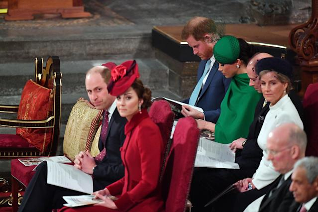 Prince Edward and his wife sat with the Duke and Duchess of Sussex at the annual Commonwealth Day service in March. (Getty Images)