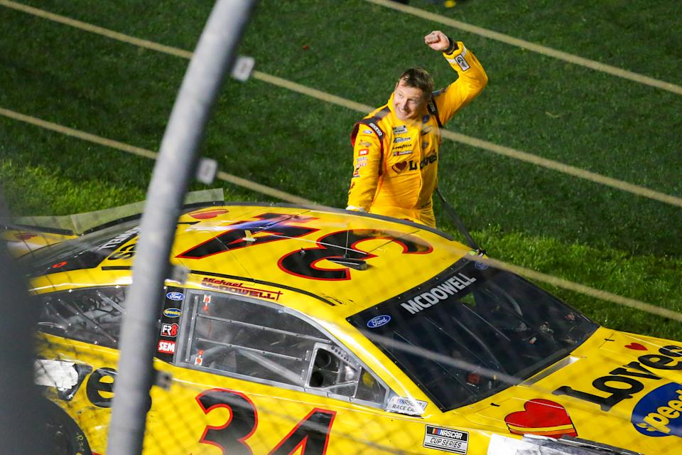 DAYTONA, FL - FEBRUARY 14: Michael McDowell, driver of the #34 Front Row Motorsports Loves Travel Stops Ford Mustang, wins the Daytona 500 on February 14, 2021 at Daytona International Speedway in Daytona Beach. Fl. (Photo by David Rosenblum/Icon Sportswire via Getty Images)