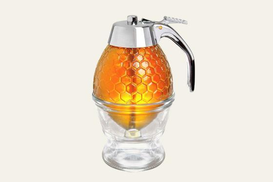 Hunnibi Honey Dispenser No Drip Glass with Stainless Steel Top