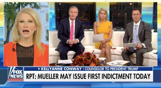 """Campaignsdon't usually """"dig around with foreign nationals"""" for oppo research, Kellyanne Conway said on """"Fox & Friends"""" Monday. (Photo: Fox News/Twitter)"""