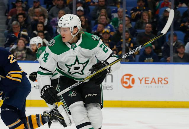 Roope Hintz has earned more playing time with the big boys in Dallas. (AP Photo/Jeffrey T. Barnes)