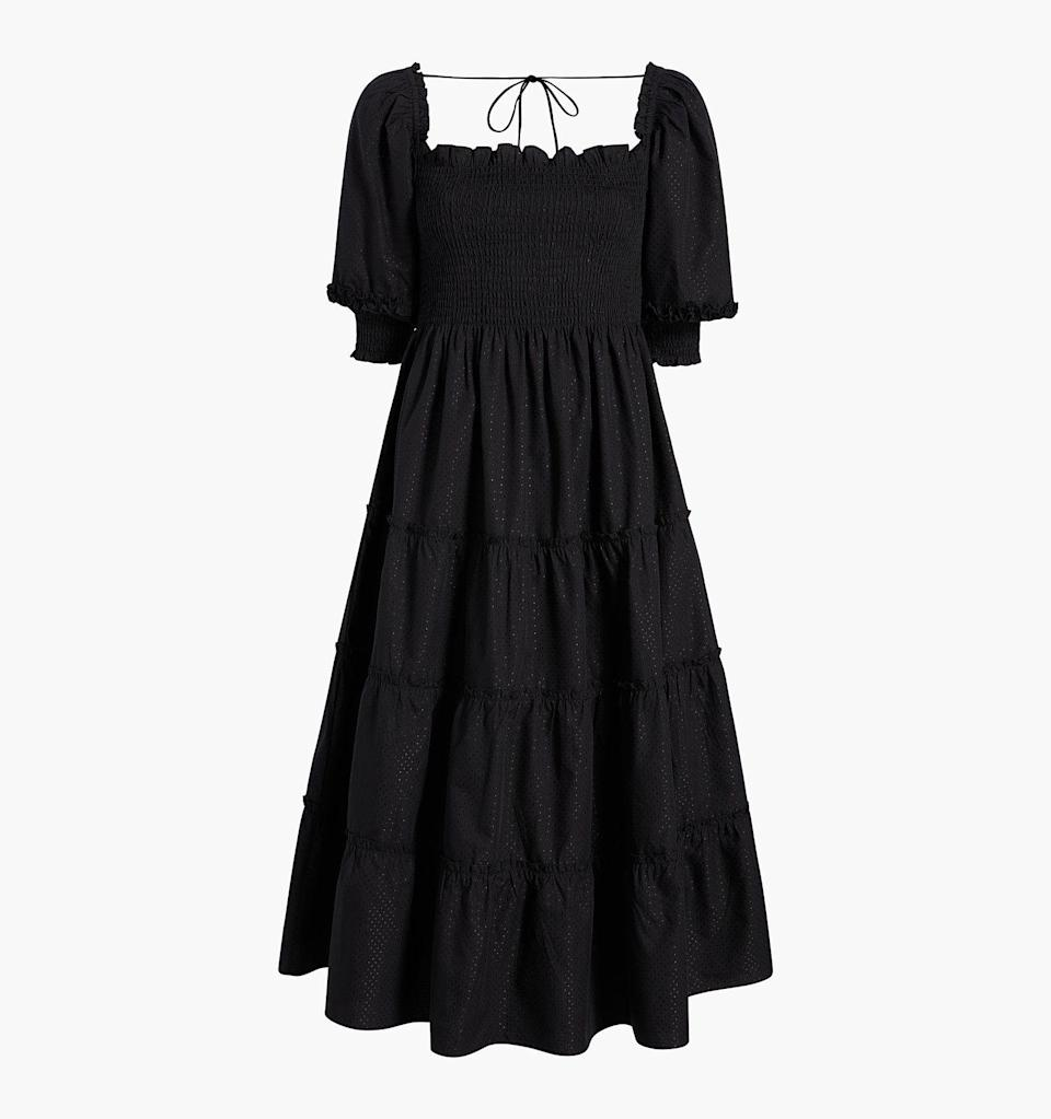 "<p><strong>Hill House Home</strong></p><p>hillhousehome.com</p><p><strong>$125.00</strong></p><p><a href=""https://www.hillhousehome.com/products/the-nesli-nap-dress-black-dot?variant=33089306198059#Image16815053340715"" rel=""nofollow noopener"" target=""_blank"" data-ylk=""slk:Shop Now"" class=""link rapid-noclick-resp"">Shop Now</a></p><p>Comfy enough for a nightgown, but cute enough to wear out of the house.</p>"