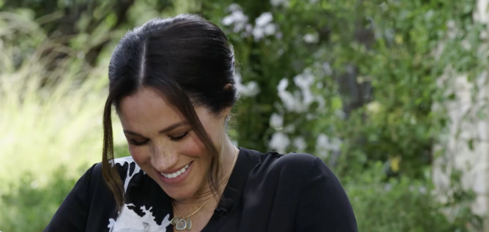 Meghan Markle laughing during Oprah interview