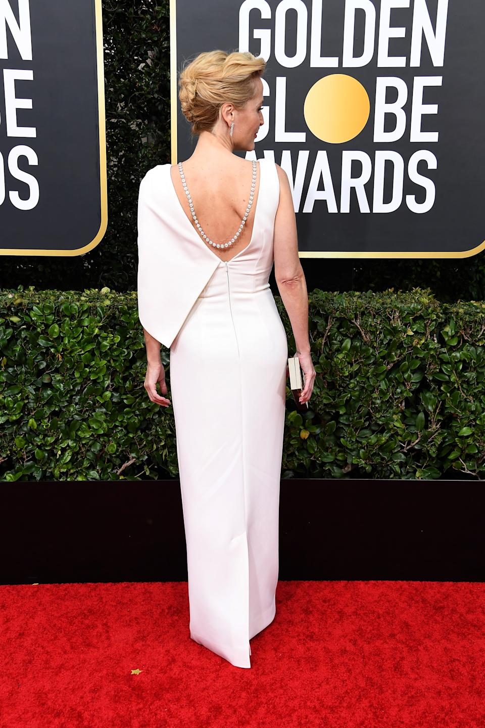 The dress featured an open back with jewelled details. (Photo by Steve Granitz/WireImage)