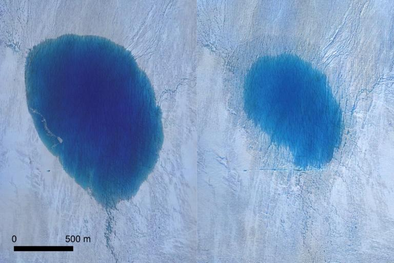 Aerial photography captured by drones from before and after showed a dark blue oval shrink into a smaller, shallower and lighter blue circle (AFP Photo/Tom CHUDLEY)