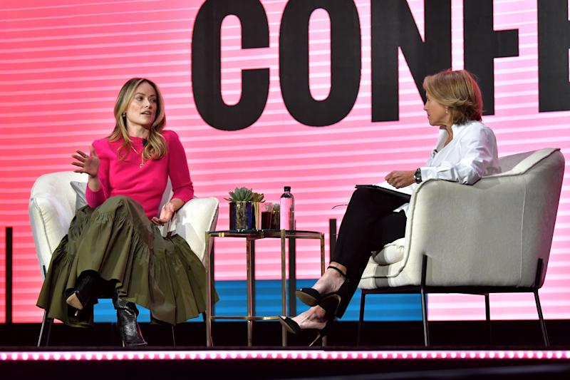 LOS ANGELES, CALIFORNIA - FEBRUARY 11: (L-R) Olivia Wilde and Katie Couric speak onstage during The 2020 MAKERS Conference on February 11, 2020 in Los Angeles, California. (Photo by Emma McIntyre/Getty Images for MAKERS)