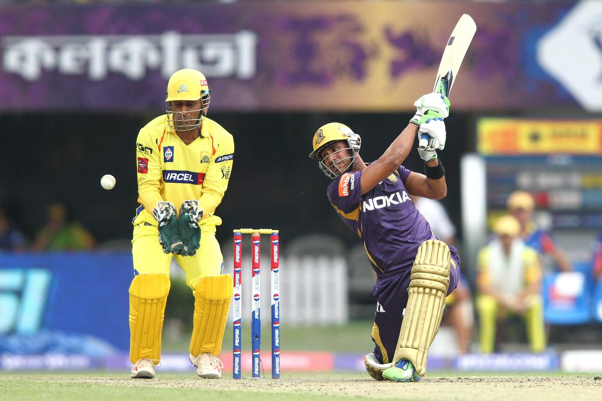 Manoj Tiwary of Kolkata Knight Riders gets an out side edge to a delivery during match 26 of the Pepsi Indian Premier League between The Kolkata Knight Riders and the Chennai Superkings held at the Eden Gardens Stadium in Kolkata on the 20th April 2013..Photo by Shaun Roy-IPL-SPORTZPICS ..Use of this image is subject to the terms and conditions as outlined by the BCCI. These terms can be found by following this link:..https://ec.yimg.com/ec?url=http%3a%2f%2fwww.sportzpics.co.za%2fimage%2fI0000SoRagM2cIEc&t=1506165867&sig=7HBVsXFtv81HIMeG_iZn_A--~D