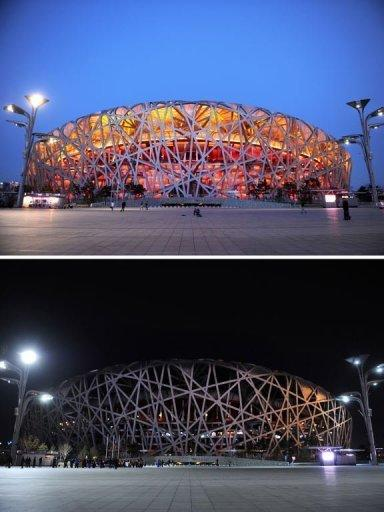 "<p>This combo of pictures shows the National Stadium, known as the Bird's Nest with the lights on (top) and with the lights off (bottom) during the annual ""Earth Hour"" event in Beijing on March 23, 2013. Iconic landmarks and skylines were plunged into darkness on Saturday as the ""Earth Hour"" switch-off of lights around the world got under way to raise awareness of climate change.</p>"