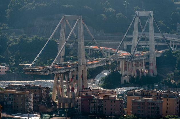 GENOA, ITALY - 2019/06/28: General view of Morandi bridge which collapsed on August 14, 2018 causing the death of 43 people. Eastern pylons of Morandi bridge are set to be destroyed on June 2. (Photo by Nicolò Campo/LightRocket via Getty Images)