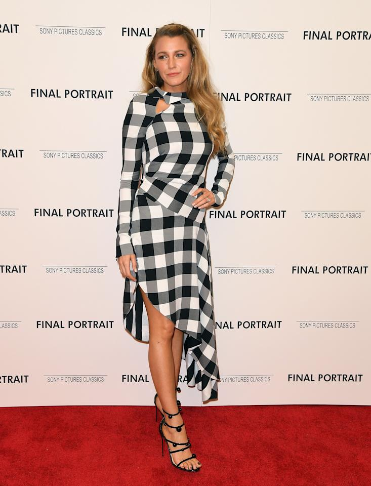 <p>Blake made a strong case for gingham at the premiere of 'Final Portrait', wearing a black and white, asymmetrical Monse dress. <br /><em>[Photo: Getty]</em> </p>