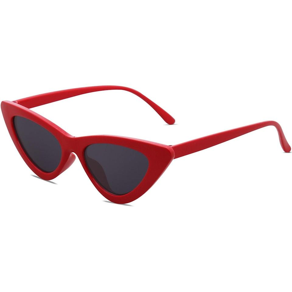 """<h2>SOJOS Retro Vintage Narrow Cat Eye Sunglasses</h2><br>These Baywatch red sunnies will make it hard for onlookers to look away — they're sleek and hip while also giving off a vintage vibe.<br><br><strong>The Hype:</strong> 4.6 out of 5 stars and 3,888 reviews <br><br><strong>What They Are Saying:</strong> """"I was initially skeptical about these sunglasses (I have a large head/face and sunglasses almost never seem to fit me right), but this pair is both on-trend and vintage-inspired so I decided to try them out. I have fallen in love with them! They are the perfect pair of sunglasses, and I wear them with almost everything. They aren't too small at all, and I actually find them flattering on my face shape. They are also very sturdy, and I plan to have them for a long time!"""" - Kade W<br><br><em>Shop <strong><a href=""""https://amzn.to/3valk8J"""" rel=""""nofollow noopener"""" target=""""_blank"""" data-ylk=""""slk:Sojos"""" class=""""link rapid-noclick-resp"""">Sojos</a></strong></em><strong><a href=""""https://amzn.to/3valk8J"""" rel=""""nofollow noopener"""" target=""""_blank"""" data-ylk=""""slk:"""" class=""""link rapid-noclick-resp""""><br></a></strong><br><br><strong>Sojos</strong> SOJOS Retro Vintage Narrow Cat Eye Sunglasses, $, available at <a href=""""https://amzn.to/3valk8J"""" rel=""""nofollow noopener"""" target=""""_blank"""" data-ylk=""""slk:Amazon"""" class=""""link rapid-noclick-resp"""">Amazon</a>"""