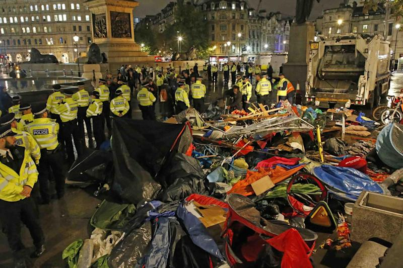 Police order climate protesters to leave Trafalgar Square on Monday night: Nigel Howard