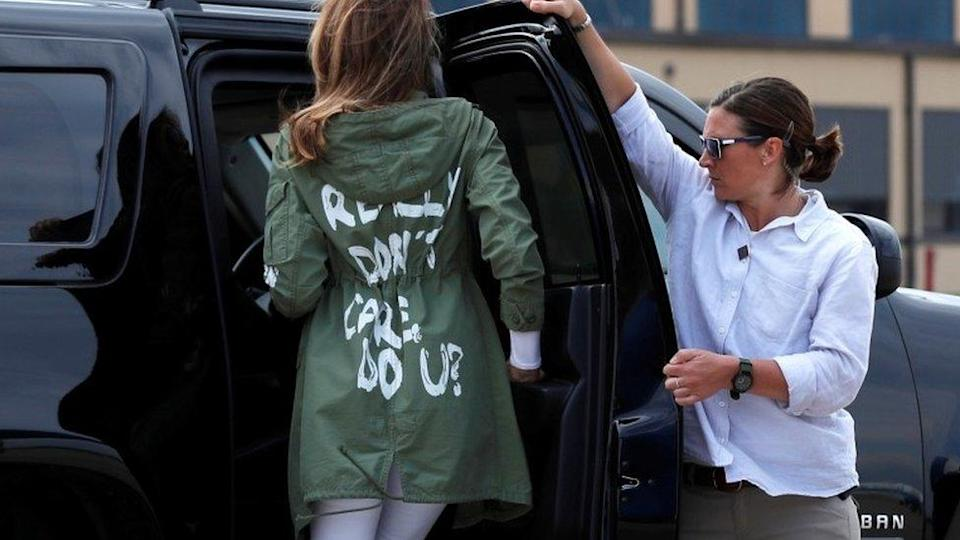 Melania Trump wears a jacket which reads `I really don`t care, do u?`