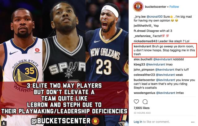 Kevin Durant sees your take, and responds with a take of his own.