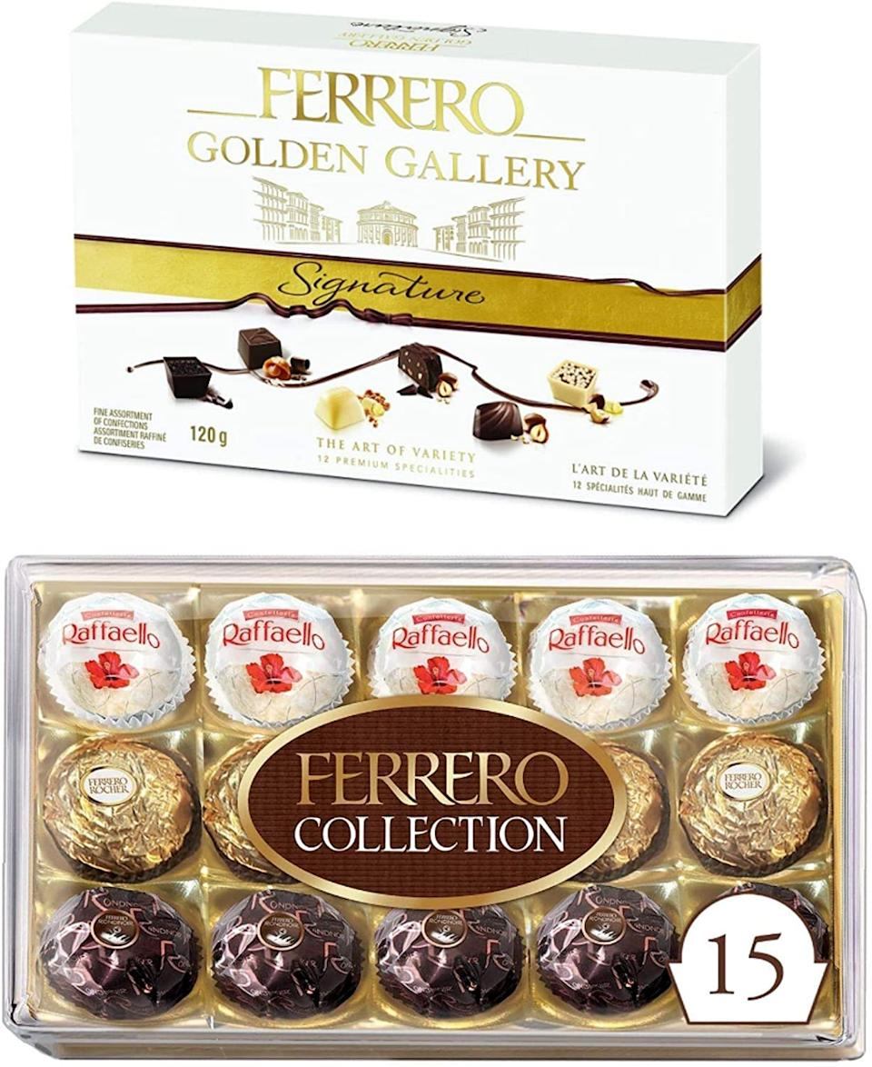 Ferrero Collection and Golden Gallery Signature Assorted Chocolate Gift Boxes. Image via Amazon