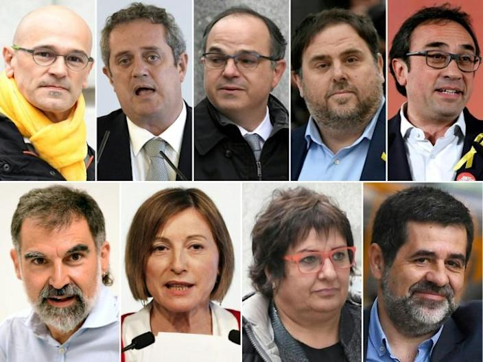 Nine of the 12 leaders were handed jail terms of between nine and 13 years, while the other three were handed fines of around 60,000 euros each (AFP Photo/GABRIEL BOUYS , LLUIS GENE, PAU BARRENA)