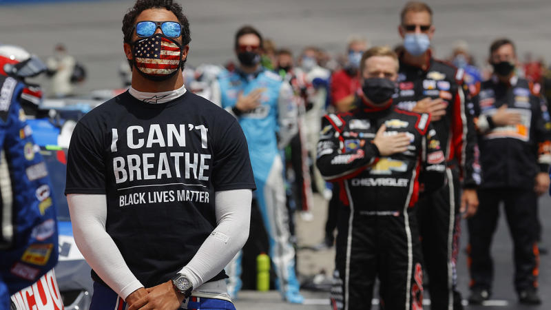 Bubba Wallace, pictured here at the NASCAR Cup Series Folds of Honour QuikTrip 500.