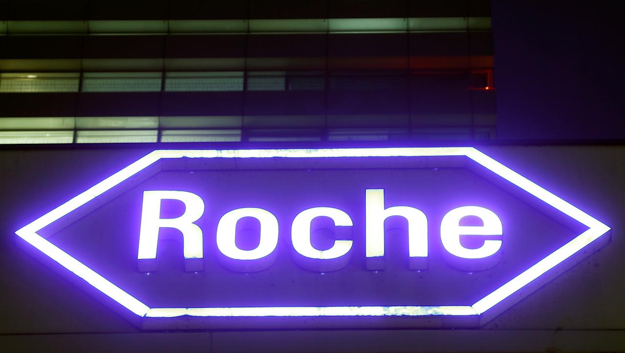 FILE PHOTO: Swiss drugmaker Roche's logo is seen at their headquarters in Basel, Switzerland January 28, 2016. REUTERS/Arnd Wiegmann/File Photo