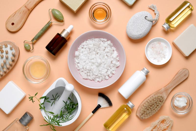 Spa beauty products for body and face home skin care, view from above on various spa treatment stuff, flat lay arrangement