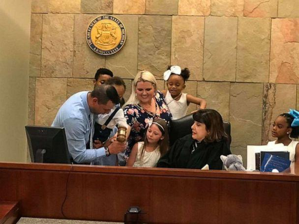 PHOTO: Gabrielle Fessenden and Shannon Fessenden of White Cloud, Michigan, are seen with their children June 12, 2019, during their son Mason's adoption hearing. (The Fessenden Family)