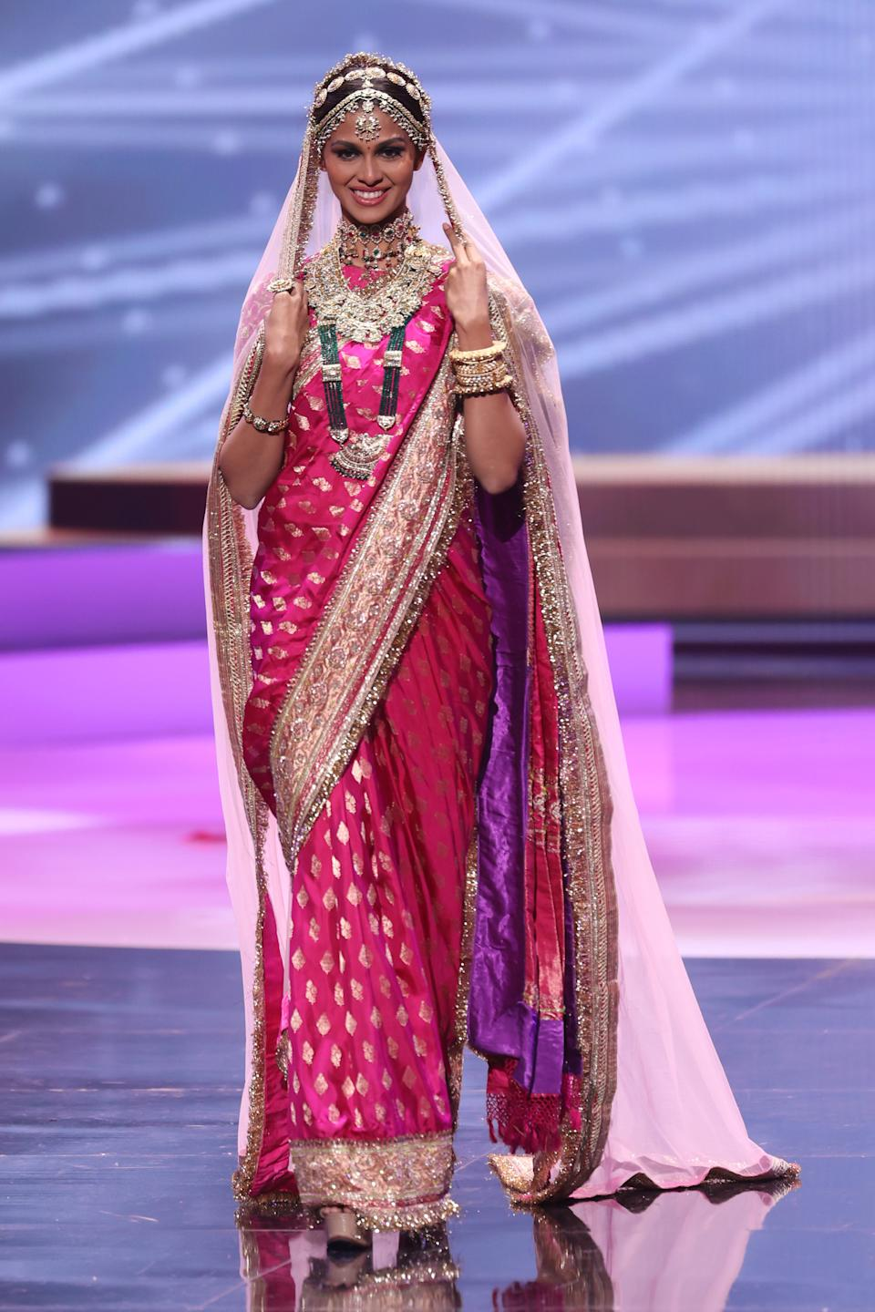 HOLLYWOOD, FLORIDA - MAY 13: Miss India Adline Castelino appears onstage at the 69th Miss Universe National Costume Show at Seminole Hard Rock Hotel & Casino on May 13, 2021 in Hollywood, Florida. (Photo by Rodrigo Varela/Getty Images)