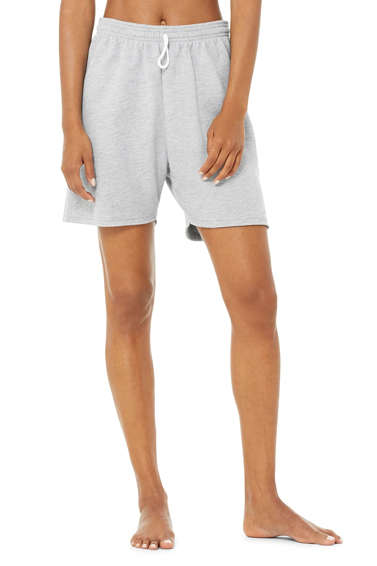 """<h2>Alo Yoga</h2><br><br><strong>Alo Yoga</strong> Gym Sweat Short, $, available at <a href=""""https://go.skimresources.com/?id=30283X879131&url=https%3A%2F%2Fwww.aloyoga.com%2Fproducts%2Fw6226r-gym-sweat-short-athletic-heather-grey"""" rel=""""nofollow noopener"""" target=""""_blank"""" data-ylk=""""slk:Alo Yoga"""" class=""""link rapid-noclick-resp"""">Alo Yoga</a>"""
