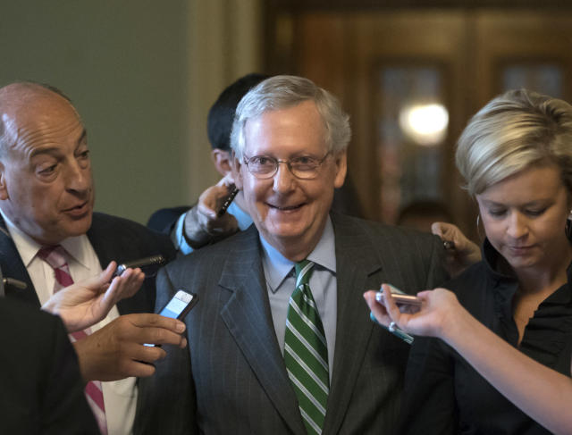 Senate Majority Mitch McConnell, after introducing a plan to roll back the Affordable Care Act on June 22. (AP Photo/J. Scott Applewhite)
